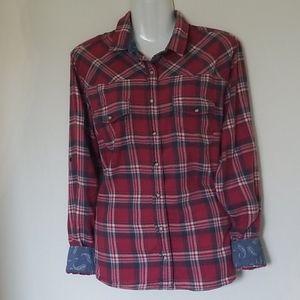 JACHS Girlfriend Bea Plaid Light Flannel Shirt